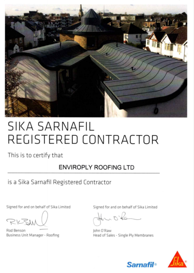 Enviroply Roofing are promoted to Sika Sarnafil Registered
